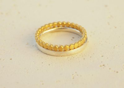 Ringe teilweise goldplattiert
